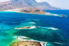 Gramvousaeiland dichtbij Kreta, Griekenland. Balosstrand. Magische turkooise wateren, lagunes, stranden Stock Afbeelding