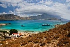 Gramvousaeiland met schilderachtige mening van Balos-lagune, Kreta, Griekenland Stock Afbeeldingen
