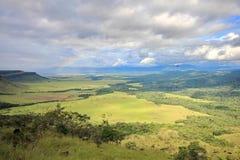 Gran从tepui倾斜看见的Sabana,委内瑞拉 免版税库存图片