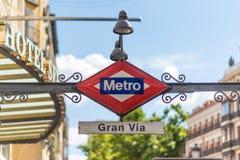 Gran通过地铁标志,马德里,西班牙 免版税库存照片