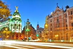 Gran通过街道在马德里,西班牙 免版税库存照片