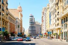 Gran über, einer der berühmtesten Bereiche in Madrid Stockfotos