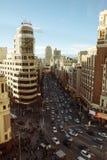 Gran μέσω και Plaza Callao, εναέρια άποψη Μαδρίτη, Ισπανία Στοκ Φωτογραφίες