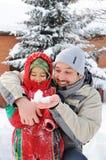 Gran actividad en nieve Fotos de archivo
