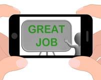 Gran aprobación de Job Phone Means Affirmation And Imagen de archivo