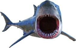 Gran ataque del tiburón blanco aislado stock de ilustración