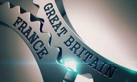 Gran Bretaña Francia - texto en el mecanismo de engranajes metálicos 3d Fotos de archivo