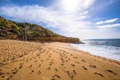 Gran camino del océano: Playa de Belces Fotos de archivo libres de regalías