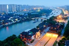 Gran Canal de Hangzhou en la oscuridad Fotos de archivo libres de regalías