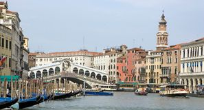 Gran Canal and Rialto bridge Royalty Free Stock Photo