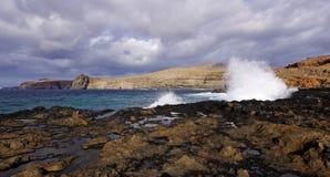 Gran Canaria海岸的愤怒的水  免版税库存照片