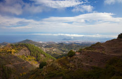 Gran Canaria, aerial view from central mountains towards Las Pal Stock Photo