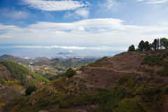 Gran Canaria, aerial view from central mountains towards Las Pal Royalty Free Stock Image