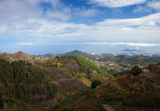 Gran Canaria, aerial view from central mountains towards Las Pal Stock Photos