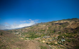 Gran Canaria, aerial view over sttep inland valley Royalty Free Stock Images