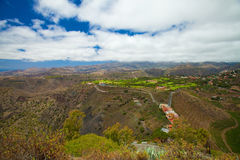 Gran Canaria, aerial view. West from Pico de Bandama, caldera de Bandama to the left, vineyards to the right, golf course center stock image
