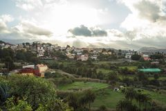 Gran Canaria architecture in the nature. With colorful village houses Stock Image