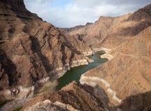 Gran Canaria, Barranco de Aldea, dam Presa de Parrarillo Stock Image