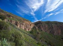 Gran Canaria, Caldera de Bandama efter vinter regnar fotografering för bildbyråer