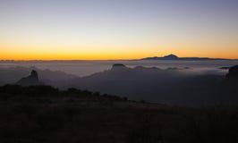 Gran Canaria, Caldera de Tejeda, aftonljus royaltyfria foton