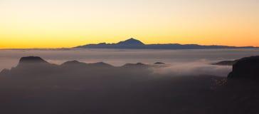 Gran Canaria, Caldera de Tejeda, aftonljus royaltyfria bilder