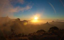 Gran Canaria, Caldera de Tejeda, aftonljus arkivfoton