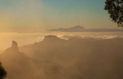 Gran Canaria, Caldera de Tejeda, aftonljus arkivfoto