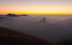 Gran Canaria, Caldera de Tejeda, aftonljus arkivbild