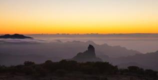 Gran Canaria, Caldera de Tejeda, aftonljus royaltyfri bild