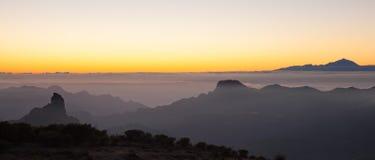 Gran Canaria, Caldera de Tejeda, aftonljus arkivbilder