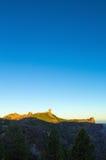 Gran Canaria, caldera de Tejeda, alba sopra il supporto di Roque Nublo Fotografia Stock Libera da Diritti
