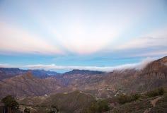 Gran Canaria, Caldera de Tejeda,  anticrepuscular rays Royalty Free Stock Image