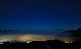 Gran Canaria, Caldera de Tejeda, dimmig natt royaltyfri foto