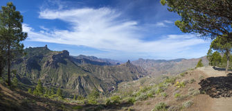 Gran Canaria, Caldera de Tejeda in February. Roque Bentayga and Teide on Tenerife visible, panorama Stock Photography
