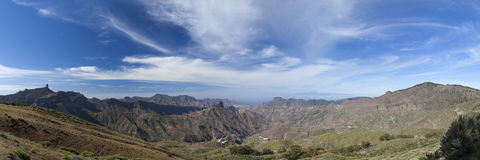 Gran Canaria, Caldera de Tejeda in February. Roque Nublo, Roque Bentayga and Teide on Tenerife visible, panorama Stock Image