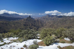 Gran Canaria, Caldera de Tejeda in February 2016. Two days after unusually heavy snowfall Stock Images