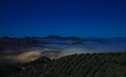 Gran Canaria, Caldera de Tejeda, foggy night Stock Image
