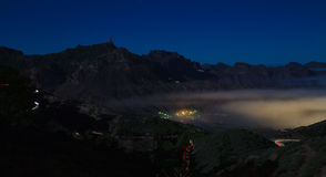 Gran Canaria, Caldera de Tejeda, foggy night Royalty Free Stock Images