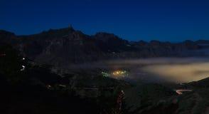 Gran Canaria, Caldera de Tejeda, foggy night Royalty Free Stock Images