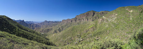 Gran Canaria, Caldera de Tejeda, January. Gran Canaria, Caldera de Tejeda turning green in January, panorama Royalty Free Stock Image