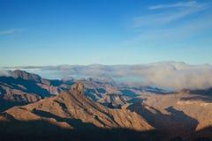 Gran Canaria, Caldera de Tejeda, morgonljus arkivfoton