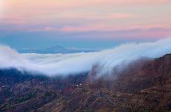 Gran Canaria, Caldera de Tejeda, morning light before sunrise Stock Photography