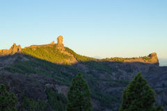 Gran Canaria, Caldera de Tejeda, sunrise over Roque Nublo  mount Stock Photography