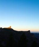 Gran Canaria, Caldera de Tejeda, sunrise over Roque Nublo  mount Royalty Free Stock Images