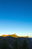 Gran Canaria, Caldera de Tejeda, sunrise over Roque Nublo  mount Royalty Free Stock Photography