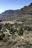Gran Canaria, countryside around the mountain village of Fataga, white Canarian houses with brown clay roof tiles.  Canary Islands. Fataga is one of the most royalty free stock photo