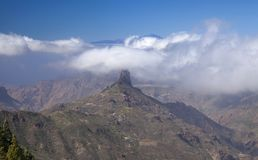 Gran Canaria, February. Gran Canaria, Las Cumbres, the highest areas of the island, February, clouds flowing into Caldera de Tejeda royalty free stock image
