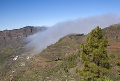 Gran Canaria, February. Gran Canaria, Las Cumbres, the highest areas of the island, February, clouds flowing into Caldera de Tejeda royalty free stock photo