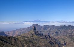 Gran Canaria, February. Gran Canaria, Las Cumbres, the highest areas of the island, February, view across Caldera de Tejeda stock image