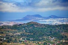 Gran Canaria, flyg- sikt till Las Palmas Royaltyfria Bilder